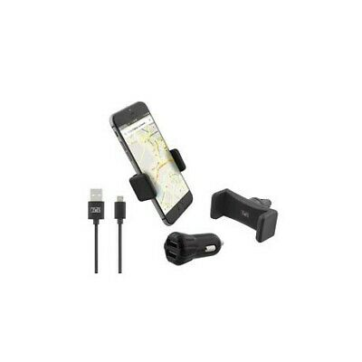 Pack chargeur allume-cigare 2 USB + câble micro USB + support grille compact