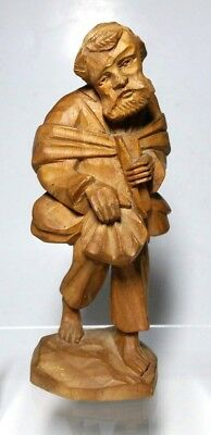 Hand Carved Wood Pilgrim Beggar Saint Figurine Vintage 6 Inches Tall