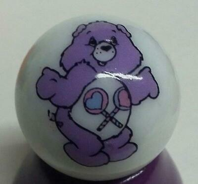 """Very Nice Care Bears FunShine Bear Collectible Glass 1/"""" Logo Marble w// Stand"""