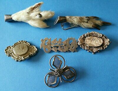 Antique Joblot Victorian Sterling Silver Broochs in mixed condition.