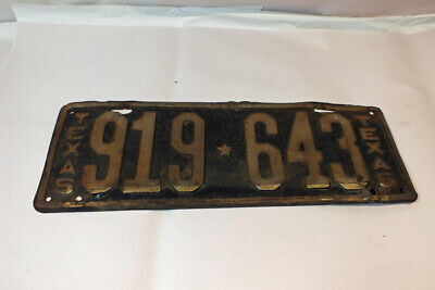 Vintage 1923 Texas License Plate Tag 919 643 Original Paint Undated Small Star