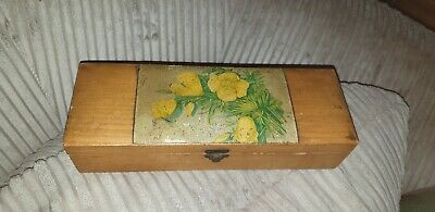 Unusual vintage Wooden Box With Flowers Design Detail beautiful Interesting