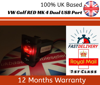 VW Golf Mk4 USB Charger RED LED