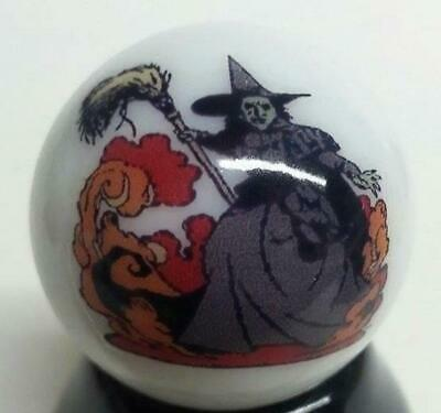 """Very Nice Wicked Witch Wizard of Oz Collectible Glass 1"""" Logo Marble w/ Stand"""
