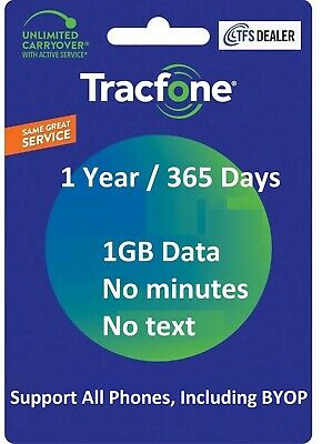 TracFone Service Extension 1 Year 365 Days + 1GB Data For SmartPhones,BYOP OK