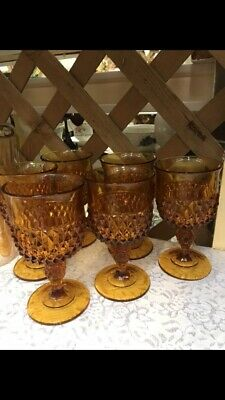 Vintage Indiana Diamond Point Amber Glass Set of 6 Water Goblet Glasses