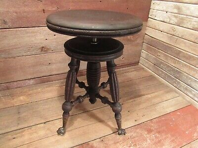 Incredible Vintage Victorian Wood Swivel Turn Adjustable Piano Stool Ocoug Best Dining Table And Chair Ideas Images Ocougorg