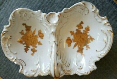 Antique 19th Century French Porcelain Hors D'oeuvres Dish Bowl Hard Paste