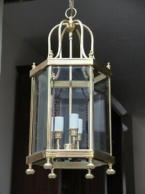 1 of a Pair of Vintage Georgian Style Solid Brass Lanterns. Chandelier Light.