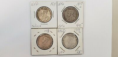 1911  1917 c 1918 c 1919 c Newfoundland 50 cents - 4 silver coins F VF and EF