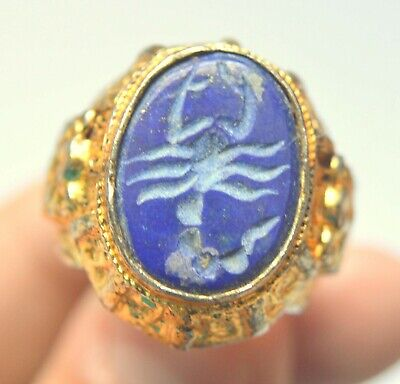 ANCIENT ROMAN GOLD PLATED SCORPION SEAL RING 1st-3rd CENTURY AD VERY OLD ITEM