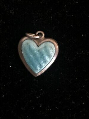 VICTORIAN VINTAGE STERLING SILVER PUFFY HEART CHARM - with Blue Enamel