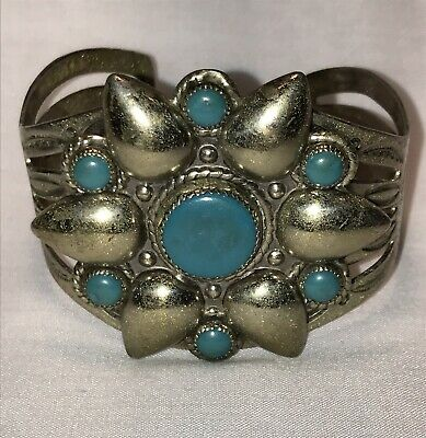 Vintage Turquoise Southwest Cuff Bracelet Nickel Silver Bell Trading Post Signed