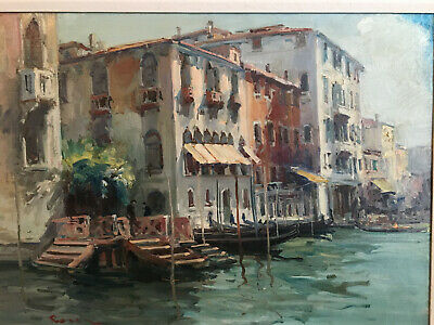 Antique Italian oil painting - View of a Venice Canal - Beginning 20th Century