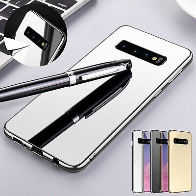 For Samsung Galaxy S10 S9 Plus Luxury Case Mirror Plating Tempered Glass Cover