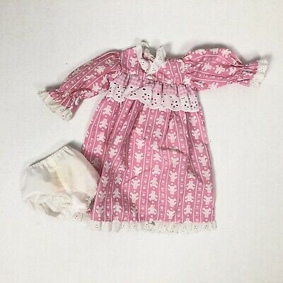 American Girl Doll Night Dress Lace Collar trim Pink Bear
