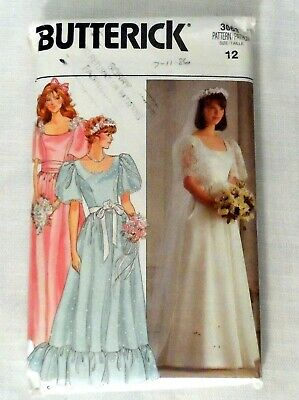 Vintage 80s Sewing Pattern Butterick 3063 Bridal Gown Wedding Dress Prom Uncut