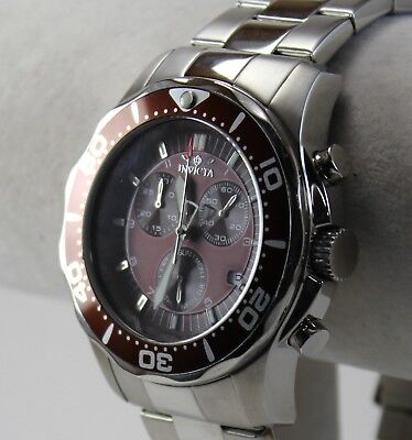 Invicta Pro Diver Men's Watch, Model 5365, Brown-Burgundy Chrono Dial on SS