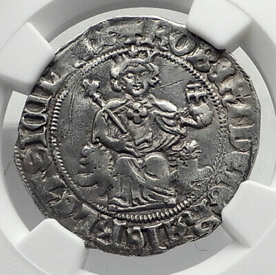 1309AD ITALY Naples King Robert D'Anjou of Anjou MEDIEVAL Silver Coin NGC i80403
