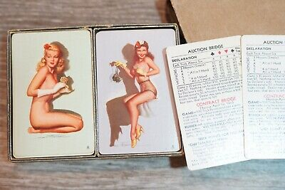 Vintage B&B Double Deck Case Mac Nude Girl Playing Cards Fine