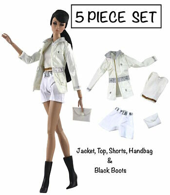 Brand New Barbie doll clothes 5 piece outfit jacket top shorts handbag boots.