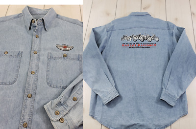 "HARLEY-DAVIDSON L/S Button Up Denim Shirt 1903-2003 ""100 YEARS"" Mens Large  L17"