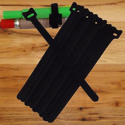 NEW 10PCS 20CM Cable Cord Ties Straps Wrap Hook And Loop Black Portable BT
