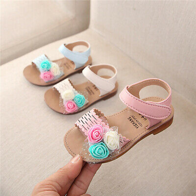 Toddler Summer Princess Party Shoes Kids Girls Flower Bridesmaid Wedding Sandals