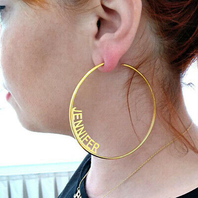 Hoop Earrings Personalized Stainless Steel Gold Any Name Plate Chain Trend Gift