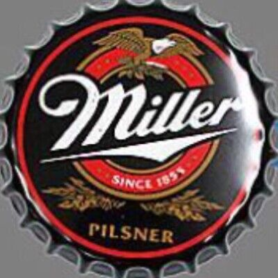 Miller Beer Tin Bottle Cap Sign Man Cave Bar Office Vintage New Lite MGD Genuine