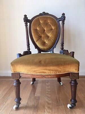 Antique Victorian Low Level Button Fireside Nursing Bedroom Spoon Back Chair