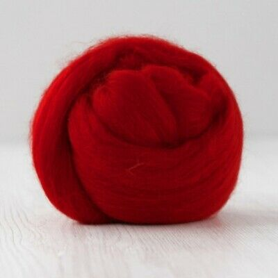 Red Merino Wool Combed Top - DHG - Fire