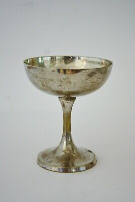 "Vintage silver plate wine cup glass 4 1/4"" tall unmarked"