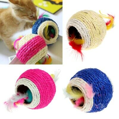 Lovely Sisal Rope Feather Ball Teaser Scratch Chew Play Toy For Pet Cat Kitten
