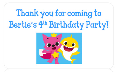 Personalised Party Bag Favour Label Stickers Address Birthday 1St Baby Shark