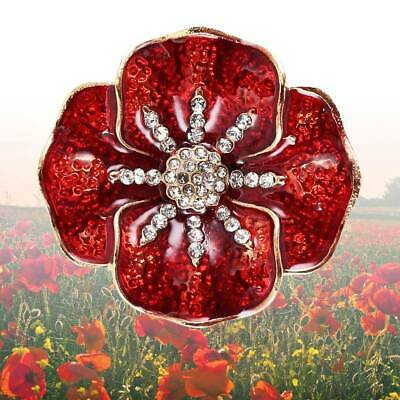 NEW Poppy Pin Badges Brooch Red Brooches Enamel Crystal Badge 2019 Collection