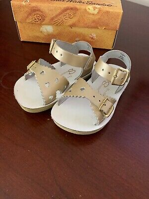 Saltwater Sandals  Sweetheart, baby girl, size 5, gold