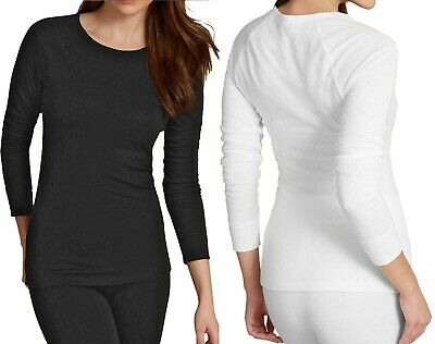 Ladies M&S Thermal Brushed Inside Pointelle Top Long sleeve Warm Ribbed Cuffs