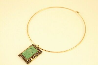 Vtg Chinese Sterling Silver Carved Turquoise Filigree Vermeil Pendant Necklace