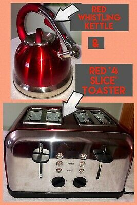 Whistle Kettle & Toaster KITCHEN BUNDLE - RED - Perfect For Caravan !!