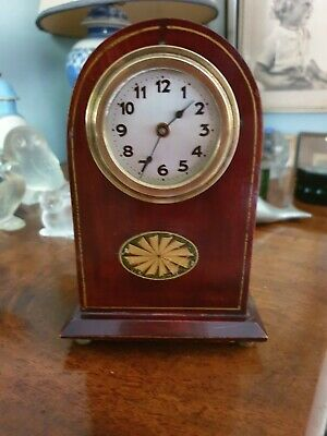 Very pretty vintage wooden mantel clock dating with wood inlay