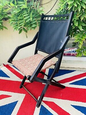 Victorian Japanned Hardwood Folding Campaign Chair