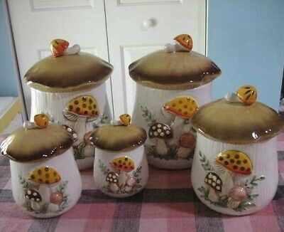 Antique/Vint~ 1978 7 Piece Sears Roebuck MUSHROOMS Canister Set w/EXTRA'S~Japan