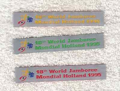 A9310 24th WORLD SCOUT JAMBOREE- 18th WORLD JAMBOREE 1995 HOLLAND 3 WOVEN STRIPS