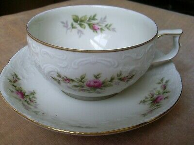 "Vintage  ROSENTHAL Classic ""Sanssouci"" Flat Cup & Saucer,  Pink Roses, Gold Trim"