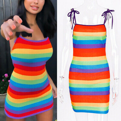 Women Dress Ladies Clubwear Sling Dress Casual Tight Sundress Pencil Rainbow