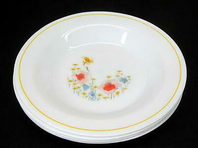 Set of 4 Vintage Arcopal France Rimmed Soup Bowls Yellow Band Floral Decor