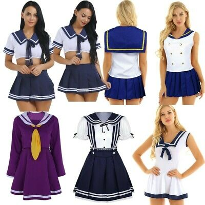 Women Sailor Cosplay Uniform School Girl Costume Pleated Fancy Dress Skirt Sets