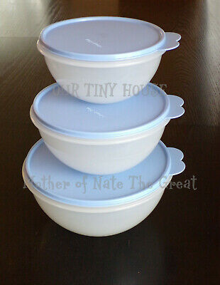 NEW Vintage Tupperware Wonderlier Bowl SET Clear Bowls & Blue Seals Made in USA