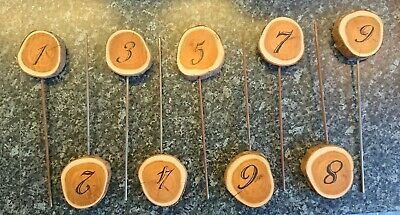 9 X Rustic Wedding Table Numbers